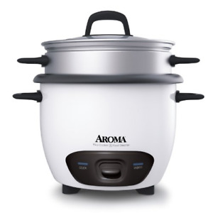 Aroma Housewares 6-Cup Cooked  3-Cup UNCOOKED Pot Style Rice Cooker and Food