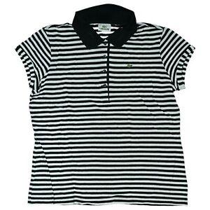 Lacoste Damen Polo T-Shirt stretchPoloshirt Gr. 44 XL Schwarz Weiß gestreift TOP