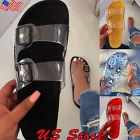 Womens Ladies Slip On Sandals Summer Clear Perspex Flat Slippers Mules Shoes USA