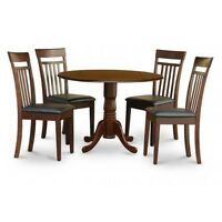 5PC Kitchen Round Table with 2 Drop Leaves and 4 Slatted-back Chairs with Fau...
