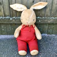 Vintage Mohair Bunny Rabbit Stuffed Plush 1940s 1950s Red Easter Carnival Prize