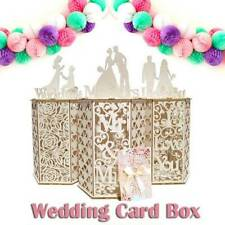 DIY Wedding Card Box with Lock Wooden Card Holder Party Envelope Hold US IzBsA