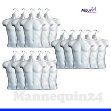 15 White Mannequin Male Torso Dress Forms + 15 Hangers - Men Clothing