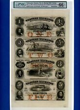 1857 NEBRASKA, OMAHA CITY $1 $2 $3 $5 OBSOLETE UNCUT SHEET PMG GEM UNC 66 EPQ