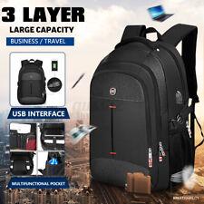 16 inch Men USB Port Backpack Laptop School Shoulder Bag Travel Handbag