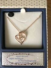 Pave Swirl Hearts Necklace Rose Gold Plated Equilibrium Sparkle