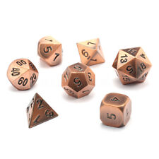 7Pcs/set Copper Metal Polyhedral Dice w Bag DND RPG MTG Role Playing Board Game