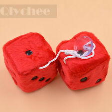 7cm Red Fuzzy Dice Car Mirror Hanging String Black Dots Cute Christmas Gift