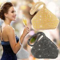 Women Diamante Clutch Evening Bag Ladies Wedding Party Prom Handbag Purse Pouch
