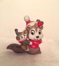 Christmas Squirrel Figurine w/ Santa Hat & Christmas Holly Winter Holiday Decor