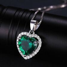 925 Silver Filled Heart Blue Emerald Quartz White Zircon Pendant Xmas Jewelry
