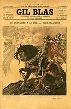 """""""LE CHEVALIER A LA FEE"""" Couverture originale entoilée du 9/10/1896 par STEINLEN"""