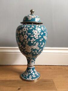 Chinese Stem Urn Vase Enamel Metal Prunus
