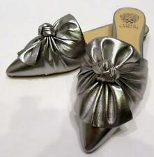 Vince Camuto MARKETA Pewter Metallic Leather Slip-on Mules - New Other - SZ 8.5M