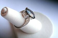 .925 Sterling Silver, Large 29CT SMOKY QUARTZ Ring, Size 6, New w/o Tag
