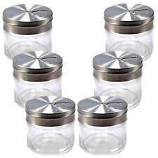 6x Gewürzstreuer Glas mit Edelstahldeckel 3 verschiedene Öffnungsgrößen Küche