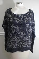 NWT Free People Women's Black & Grey Knit Cropped Sweater Size S (SW3--