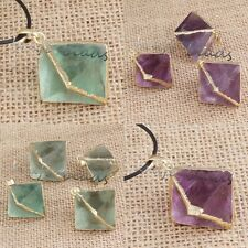 Natural Gold Plated Green Purple Fluorite Pyramid Random Stone Pendant Jewelry