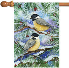 NEW Toland - Snowy Birds - Winter Snow Bird Berries Tree Branch House Flag