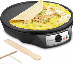 ISILER Electric Crepe Maker Nonstick Electric Pancakes Maker Griddle, 12 inches