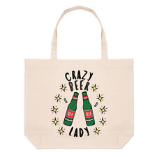 Crazy Beer Lady Stars Large Beach Tote Bag Funny Joke Drunk Mum Mothers Day