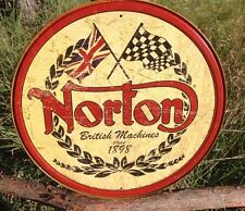 NORTON ROUND LOGO British Motorcycles Vintage Sign Tin Metal Wall Garage Rustic