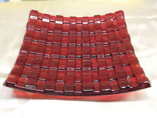 RARE Vintage Ruby Red Glass Basket Weave Lattice Tray Dish Plate Signed VT1072