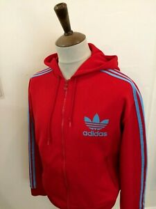 RETRO ADIDAS HOODED TRACKSUIT TOP SIZE LARGE RED / BLUE