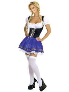 Sexy Beer Girl Costume Carnival Lace up Color Block Dress Carnival New Size XL