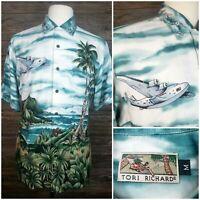 Vtg Tori Richard Mens Medium S/S Button Front Rayon Hawaiian Aloha Shirt