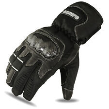 Motorbike Winter Gloves Biker Motorcycle Thermal Waterproof Black Leather, Large