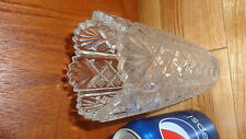 "Vintage Clear Crystal Heavy Cut Vase 6.25"" tall 3"" wide object ornament jar"