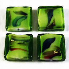 Set of 4 Glass Beads Lampwork Murano Square 20mm Green