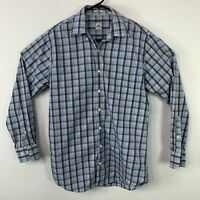 Peter Millar Plaid Button Down Oxford Long Sleeve Collared Mens Shirt Size M