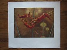 Vintage Art  Print 1946 Passing Leap by John Curry Acrobats Tightrope at Circus