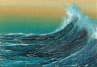 ACEO Original Acrylic Miniature Seascape Ocean Waves Sea Spray Painting HYMES