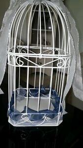 Wedding Reception Birdcage Card Holder White Metal * Top Opens Excellent Shape