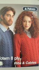 Patons Pattern Book #1270 Totem Merino 8 Ply Ribs & Cables 21 Styles to Knit