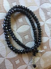 Faceted Black Tourmaline Beaded Necklace Large 6mm Beads