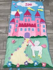 Lillian Vernon Girls Sleeping Bag With Pink Castle And Unicorn Personalized Zoe