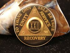 Alcoholics Anonymous Black & Gold Plated 22 Year How Old Style Medallion Coin