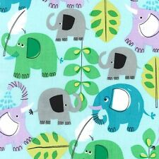 FQ Michael Miller Pachyderm Shower Aqua Elephants 100% Cotton Quilting Fabric