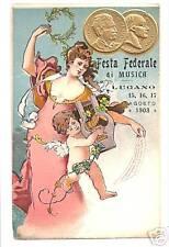 POSTCARD 1903 CHROMO ADVERTISE LUGANO MUSIC FESTIVAL II
