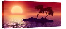 "LARGE RED PURPLE MODERN SEASCAPE SUNSET CANVAS 44""x 20"""