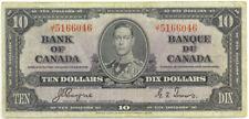 Bank of Canada 1937 $10 Ten Dollars Note King George VI Coyne-Towers VF
