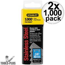 """Stanley Tra706Sst 1000 Pack 3/8"""" Stainless Steel Narrow Crown Staples 2x New"""