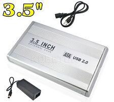 """Case Box Esterno 3,5 Sata Usb 2.0 Per HDD Hard Disk 3,5"""" Alluminio hsb"""