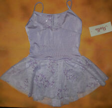 NWT Dance Mirella Lilac Skirted Cami Leotard Dress Glitter Med Child 8-10 M252C