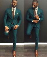 Men Green Wedding Suit Slim Fit Groom Groomsmen Formal Suit Custom Made