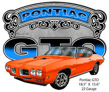 1966 Pontiac GTO Vintage Look Reproduction Metal Tin Sign 12X18 Inches